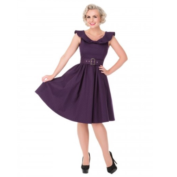 5c3df6b4d4ce lindy Bop Dresses   Pinup Hetty Bow Shawl Collar Purple Swing Dress ...